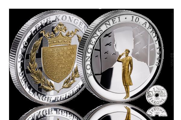 Gigantmedaljen Kongens Nei, belagt med sølv og detaljer i gull