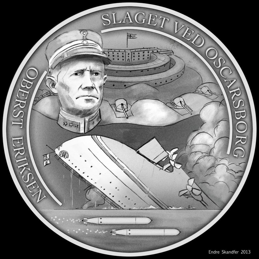 Skissen til medaljen Slaget ved Oscarsborg utført av kunstner Endre Skandfer for Samlerhuset, illustrerer oberst Eriksens første felle