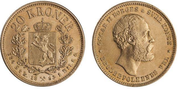 20 kroner 1883 fra Kong Oscar II