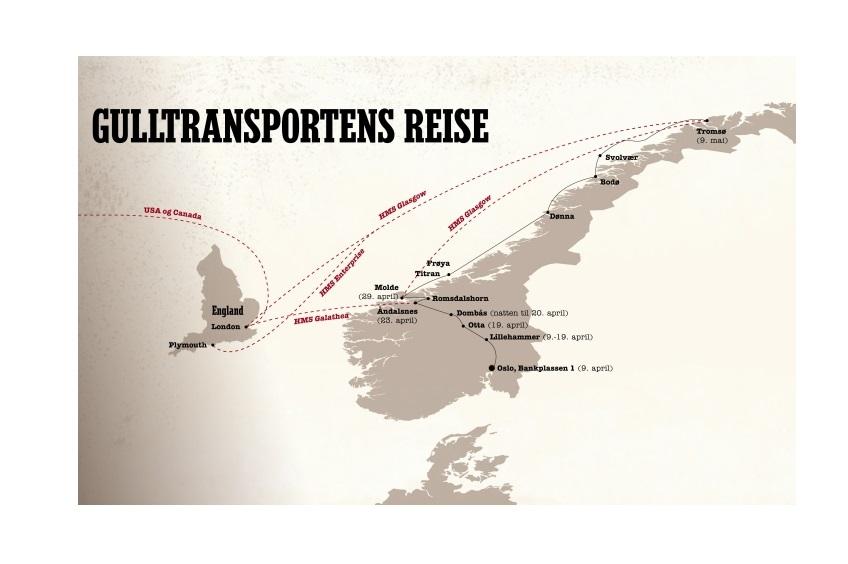 Kartet viser gulltransportens rute, evakueringen av Norges Banks gullbeholdning i 1940.