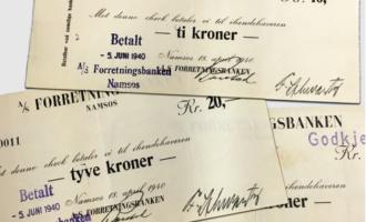Nødpengesedler fra Namsos, utgitt under 2. verdenskrig