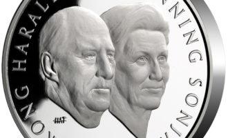 Norges konge og dronning på minnemynten fra 2012