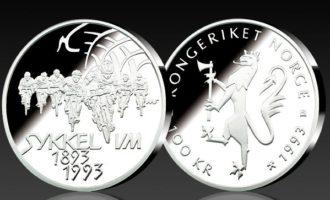 100kr sykkel-VM Landeveissykling er en populær norsk minnemynt