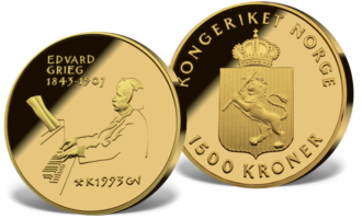 Edvard Grieg 1500 kroner 1993 gull minnemynter i sentralbankloven