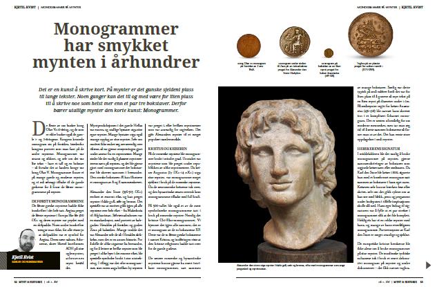 Mynt og Historie monogrammer Samlerhuset