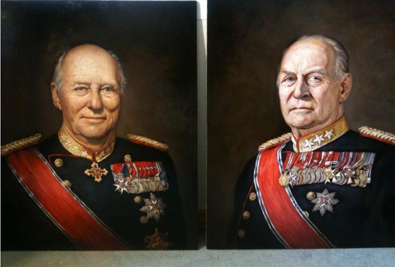 Tronskiftet mellom Olav V og Harald V illustrert med Ross Kolbys bilde av de to rundt samme alder.