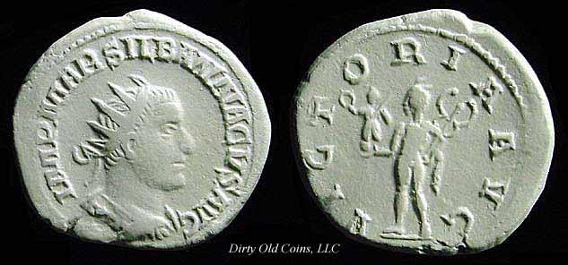 gipskopi silbannacus kjent fra mynter antoninianus