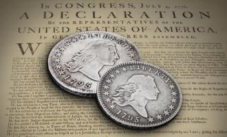 Den første sølvdollar - Flowing hair - er verdens dyreste mynt