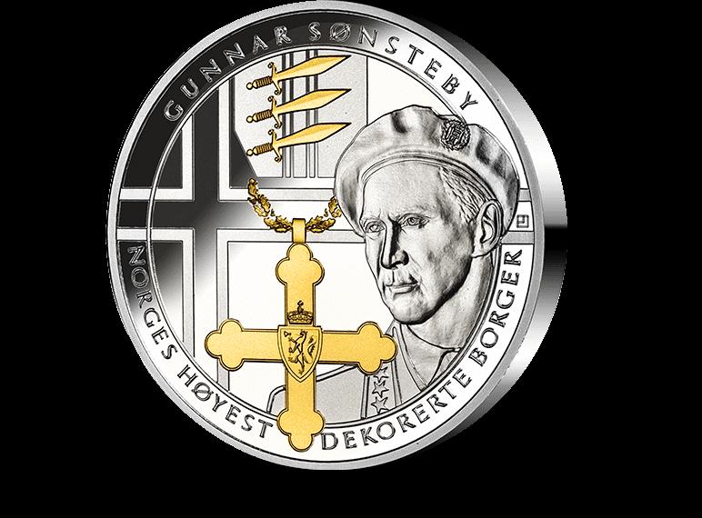 """Gunnar Sønsteby-medalje. Eksempel på en """"vanlig medalje"""" uten høyt relief."""