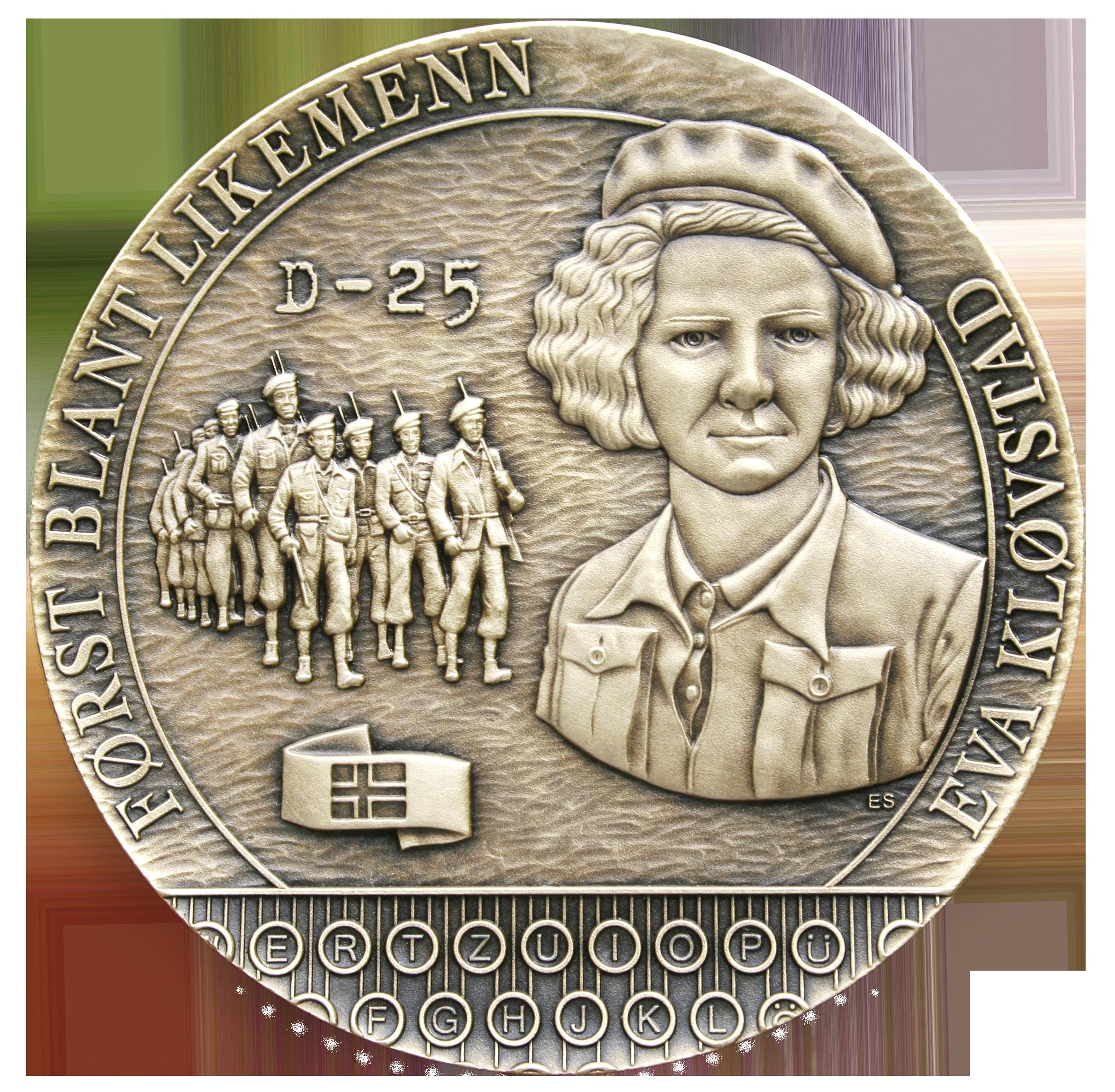 Eva Kløvstad Først blant likemenn D 25 soldater på to rekker medalje tastatur