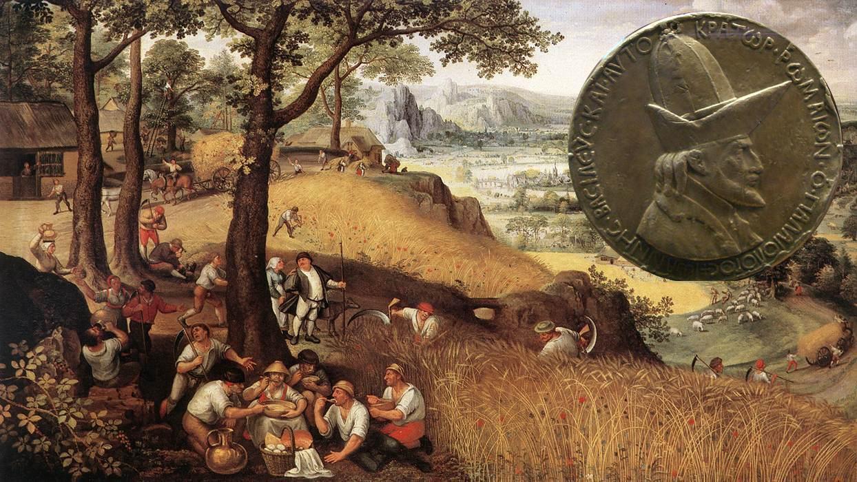 Lucas van Valkenborch Lanskap Flandern 1500-tallet medalje Johannes VIII Palaiologos