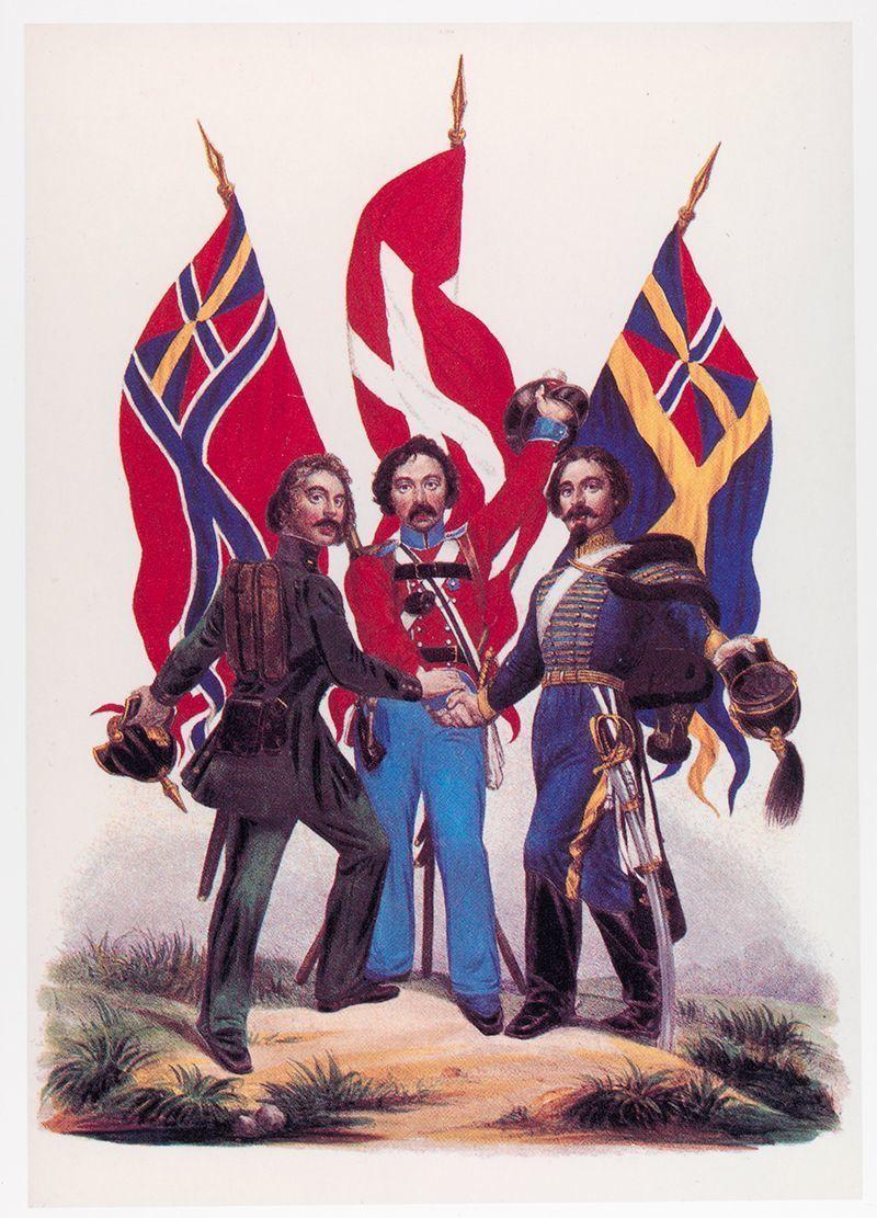 Skandinavismen var stor. På bildet er en norsk, en dansk og en svensk soldat som holder hender.