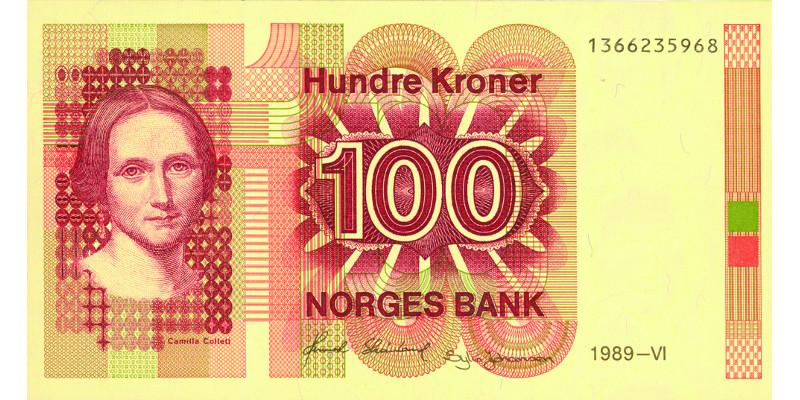 Camilla Collett-seddel. Norske sedler hadde alltid riksløven før denne utgaven.