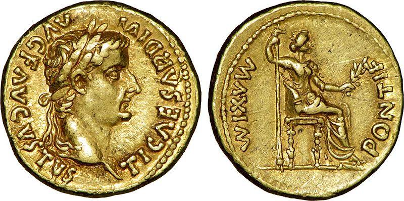 Aureus, en romersk gullmynt som viser Tiberius og stemoren Livia utkledd som fredsgudinnen Pax.