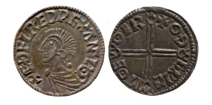 mynt av Ethelred den rådville. Sveriges eldste mynt ble kopiert av denne eller liknende mynter