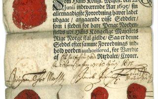 Seddel fra 1695 Møhlen-seddel på 50 riksdaler. Samlerhuset er opptatt av slike emner.