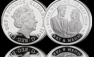 Minnemynt advers Elizabeth II, revers Prins Harry og Meghan Markle