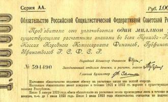 sovjetiske rubler fra 1921. Verdiløse to år etter.