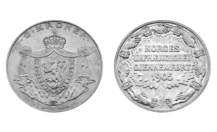Norges Uafhænggighed Gjennemført sto det på reversen til mynten. Dette var før skrivereformene som sto i kø etter uavhengigheten.