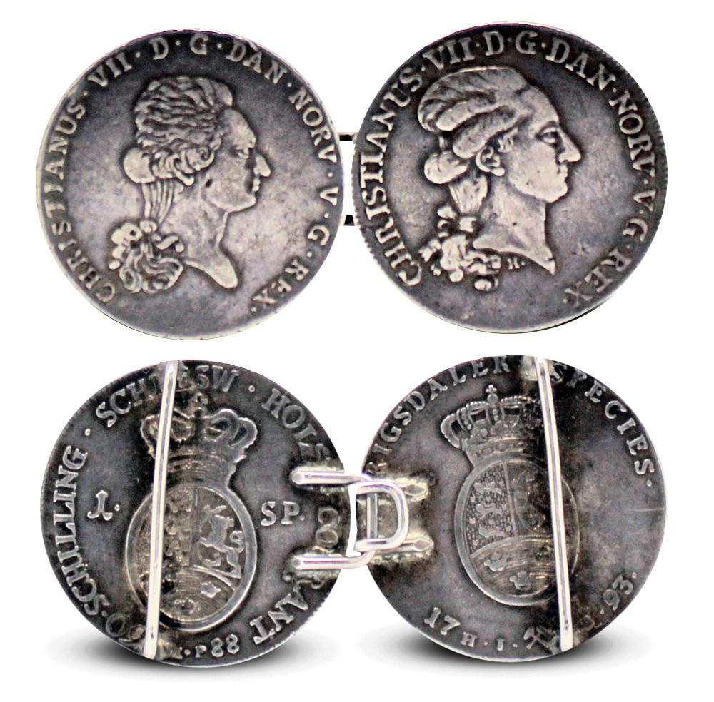 Mynter som smykker beltespenne Christian VII gianelli