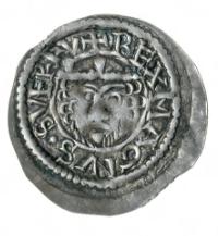 Middelaldermynter under kong Sverre. Brakteat med bilde av Sverre med påskriften RE MAGNVS SVERI