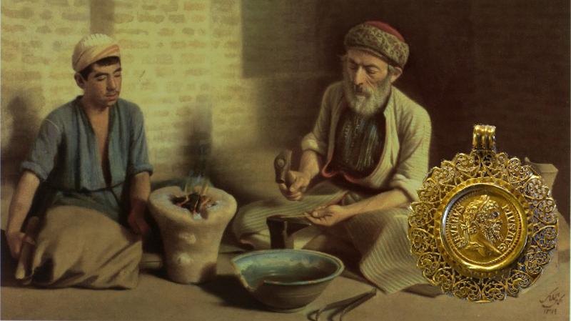mynter som smykker Septimus Severus festet på et anheng til halsbånd. I bakgrunnen en myntpreger og en lærling