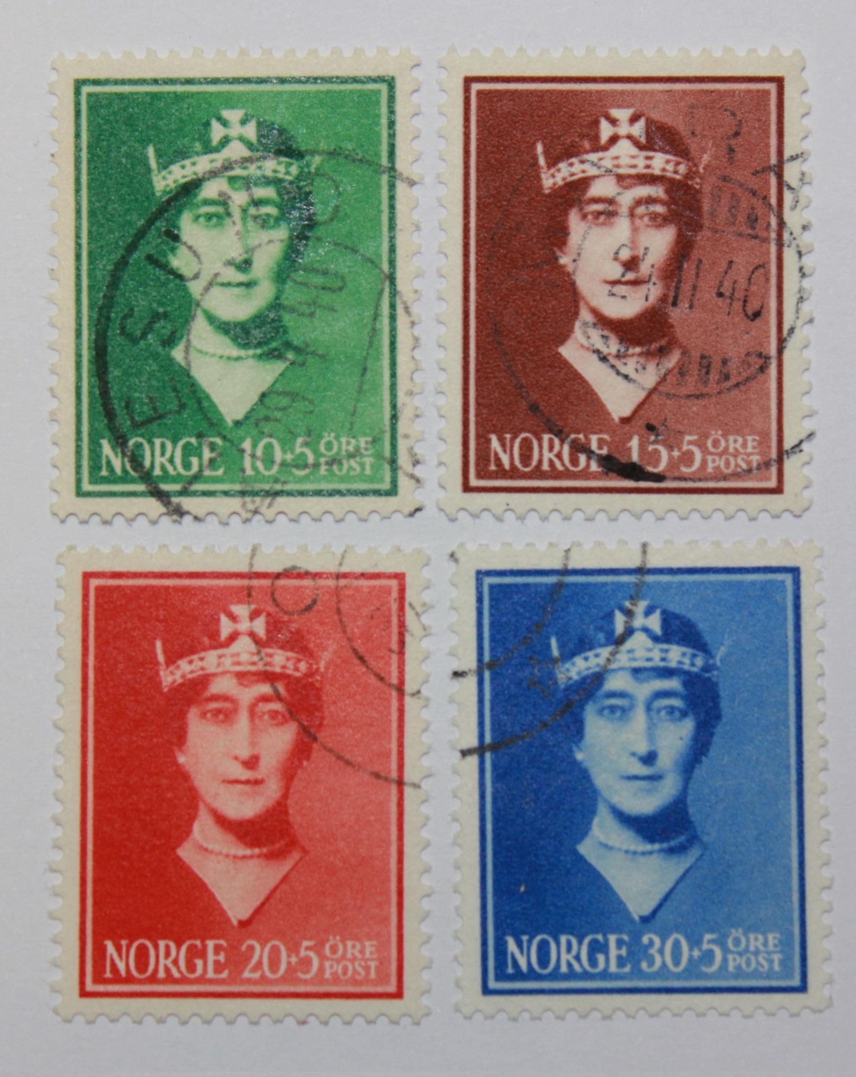 Norske frimerker: Dronning Maud-frimerker stemlplet