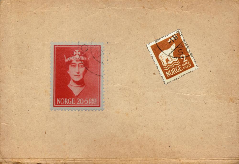 norske frimerker frimerke for uindløst post, polmerke og grønt bilde av dronning Maud.