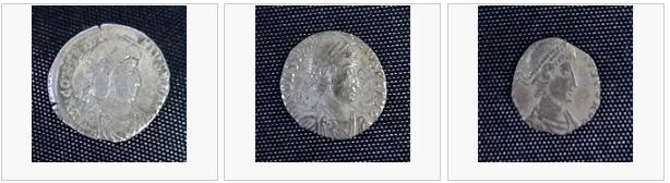 """Tre romerske mynter (siliqua). Den første er stor og intakt, den andre er """"trimmet"""" og er mindre, mens den tredje er enda mindre, og nesten hele omskriften er klippet av."""