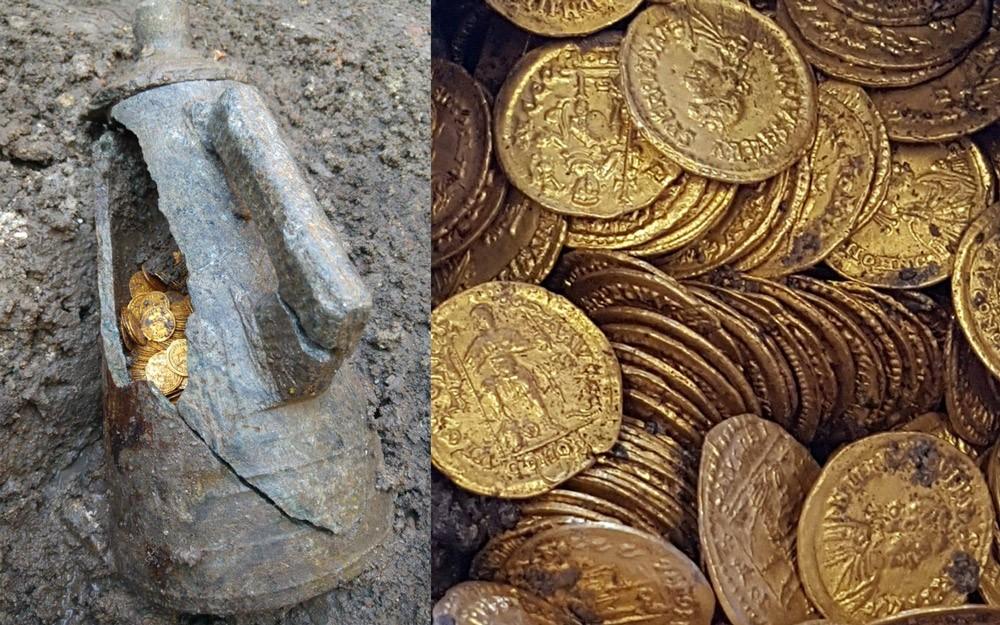 Romerske gullmynter funnet i krukke. Gullmyntene strekker seg over 400-tallet.