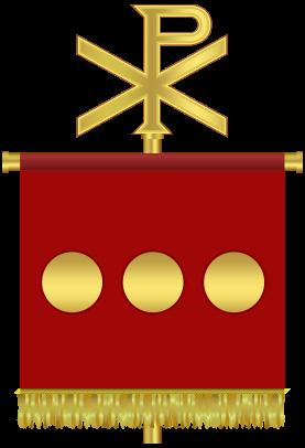 Samlerhuset: Labarum med PX (khi-Rho). Flere romerske gullmynter i krukken ser ut til å mangle dette symbolet på Jesus.