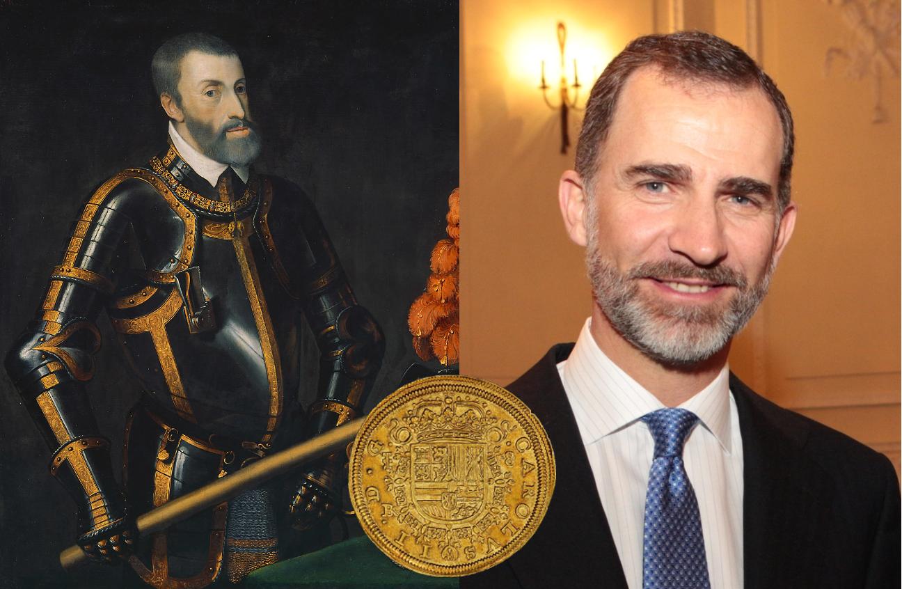Karl V Carlos I escudo i gull i anledning at escudoen preges på minnemynter i gull.