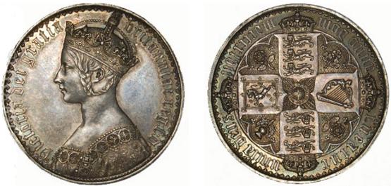 crown mynt med Victoria med flettet hår som går bak og rundt ørne og inn i kronen. Omskriften med gotisk skriftfont.