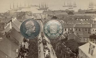 Bilde av kroningen av Oscar II i 1873 og en halv speciedaler fra 1873