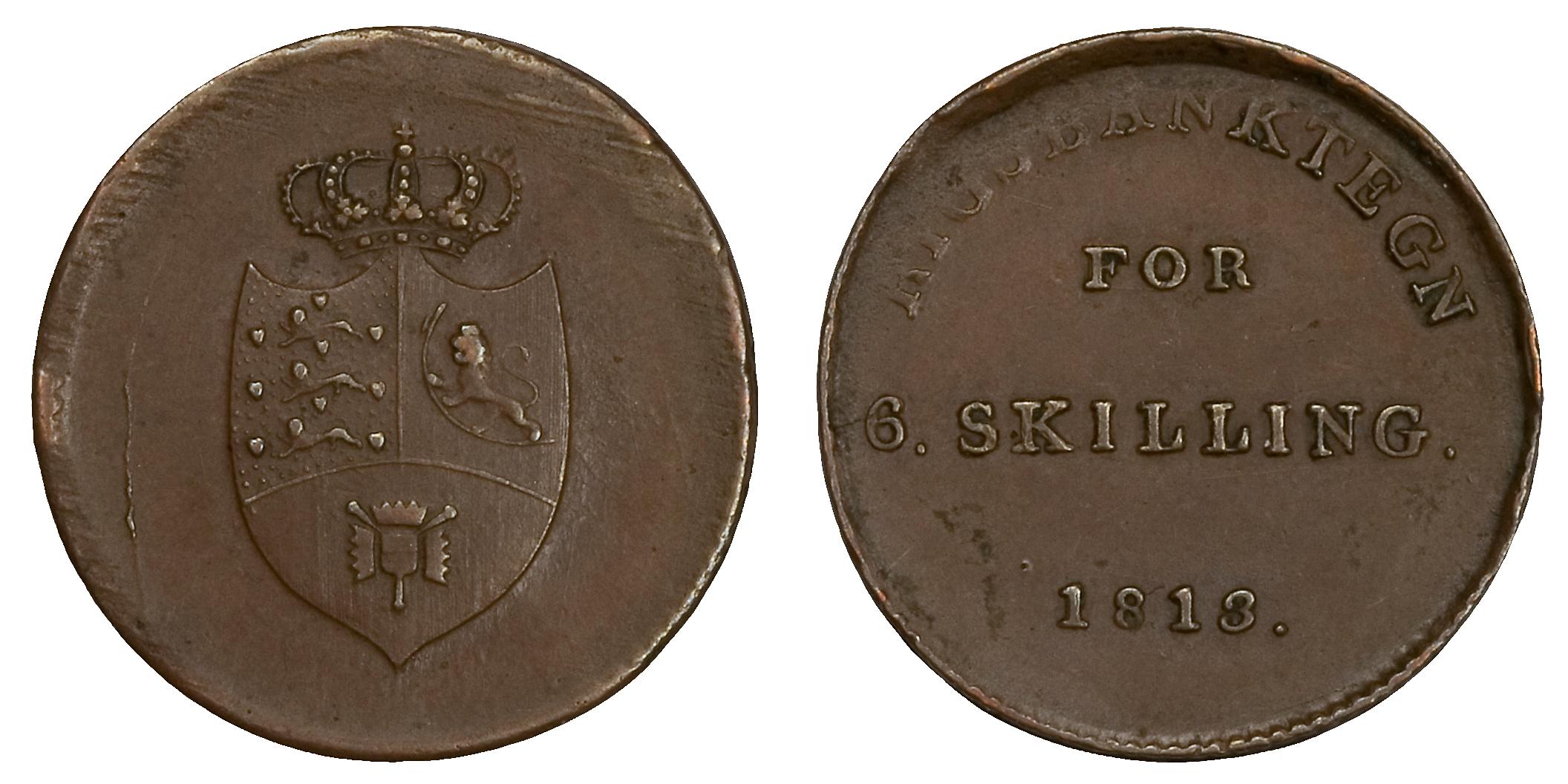 Riksbankstegn for 6. skilling. 1813. Denne mynten er preget i Danmark, og har en interessant historie verd å få med seg.