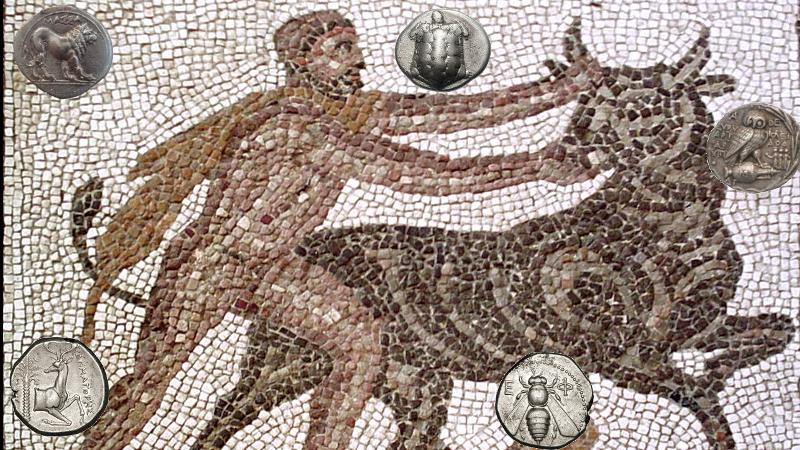 antikke mynter Herakles kretiske okse