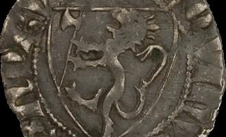 Bilde av en penning fra Haakon 5. Magnusson. Penninger fra dansketiden var noe annerledes.