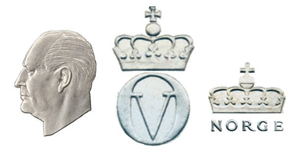 Olavs hode i profil, hans monogram og den norske kronen var med på førsteutkastet