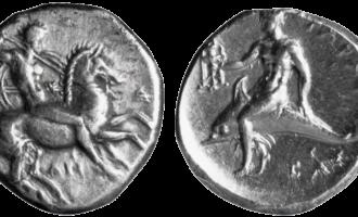 Poseidon på mynt: En mann til hest og en mann på delfin symboliserer begge havdugen Poseidon.