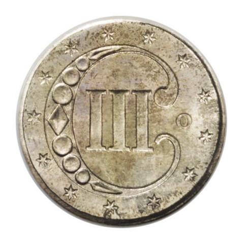 3-cent-mynten har en stor C og tre III inne i C-en. Det er en av få amerikanske mynter uten e plurubus unum, en ørn eller In God We Trust.