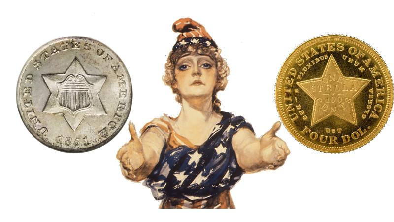 Visste du at amerikanske mynter i valørene 2,5, 3 og 4 dollar er blitt preget? Og hva har frimerker med det hele å gjøre?