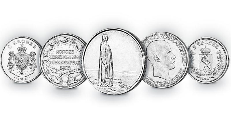 Fem utgaver av tokronen. Les mer om den spennende historien til mynten her!