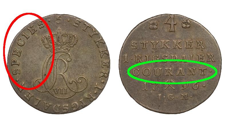 1/5 riksdaler specie og 1/4 riksdaler kurant i samme mynt.