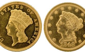 """Den amerikanske tredollaren har en """"indianerprinsesse"""" som ser ut som en europeiskettet kvinne med fjærpryd."""