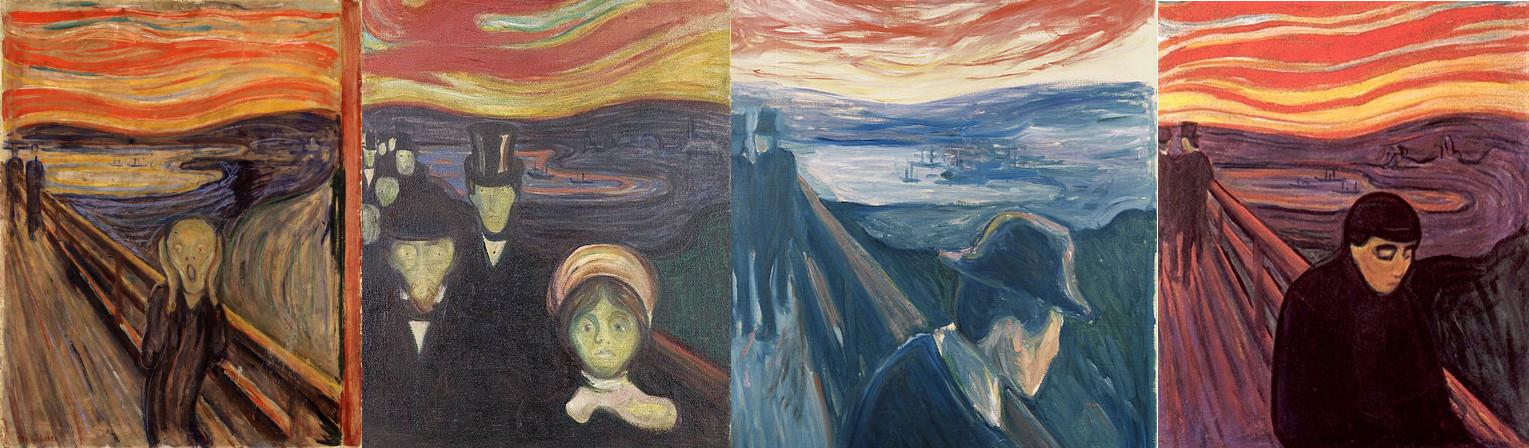 Edvard Munch brukte den blodrøde bakgrunnen i flere bilder på begynnelsen og midten av 1890-tallet