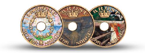 Edvard Munch foreviget med syv malerier på en forgylt 1-krone fra Haakon VII.