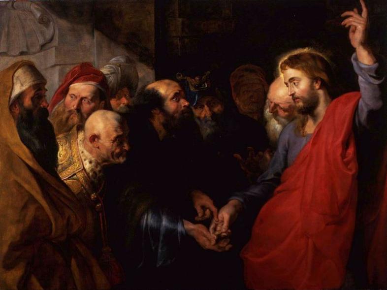På dette bildet gir fariseernes menn en denarius til Jesus, som viser til at dette tilhører ikke Gud.