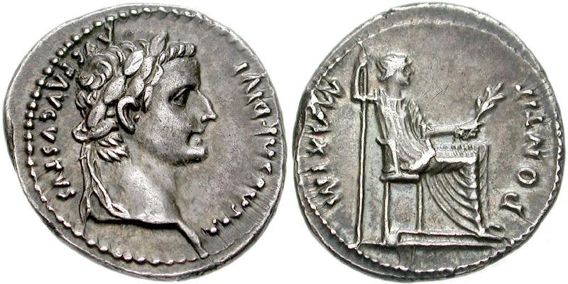 denarius med Tiberius og moren, Livia