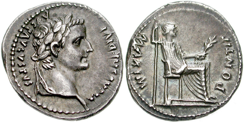 sommerquiz denarius med Tiberius og moren, Livia