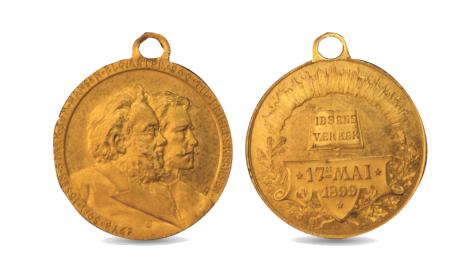 17. mai-medalje med Ibsen og Nansen.